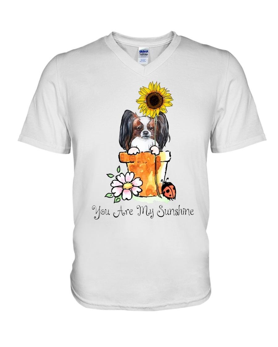 Papillon sunflower you are my sunshine V-neck T-shirt