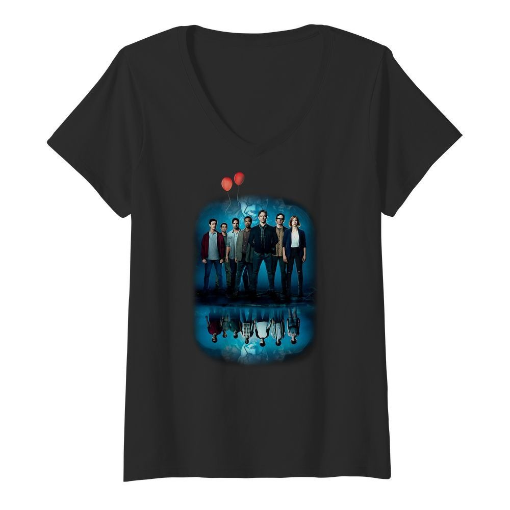 Pennywise IT character water mirror reflection V-neck T-shirt