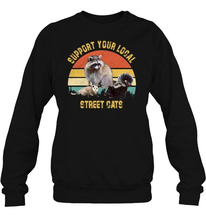 Racoon support your local street cats sunset Sweater