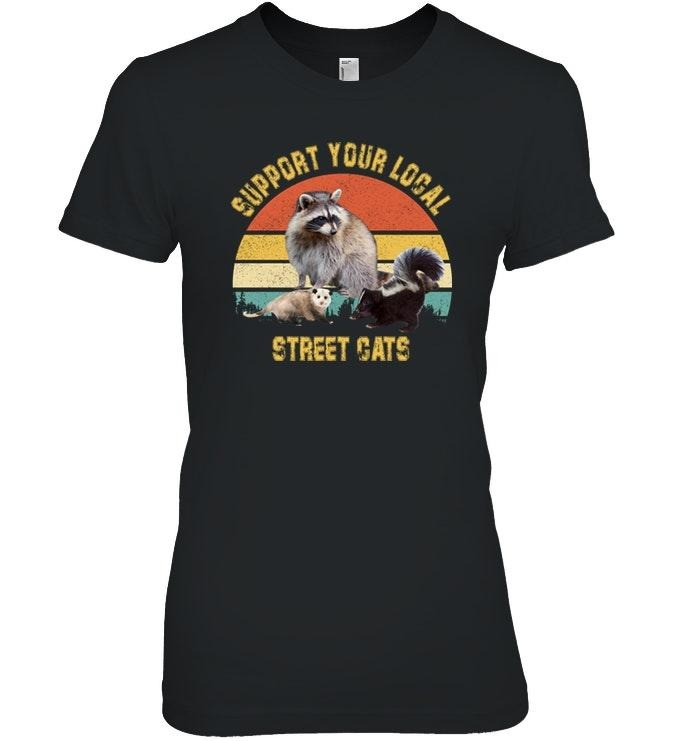 Racoon support your local street cats sunset V-neck T-shirt