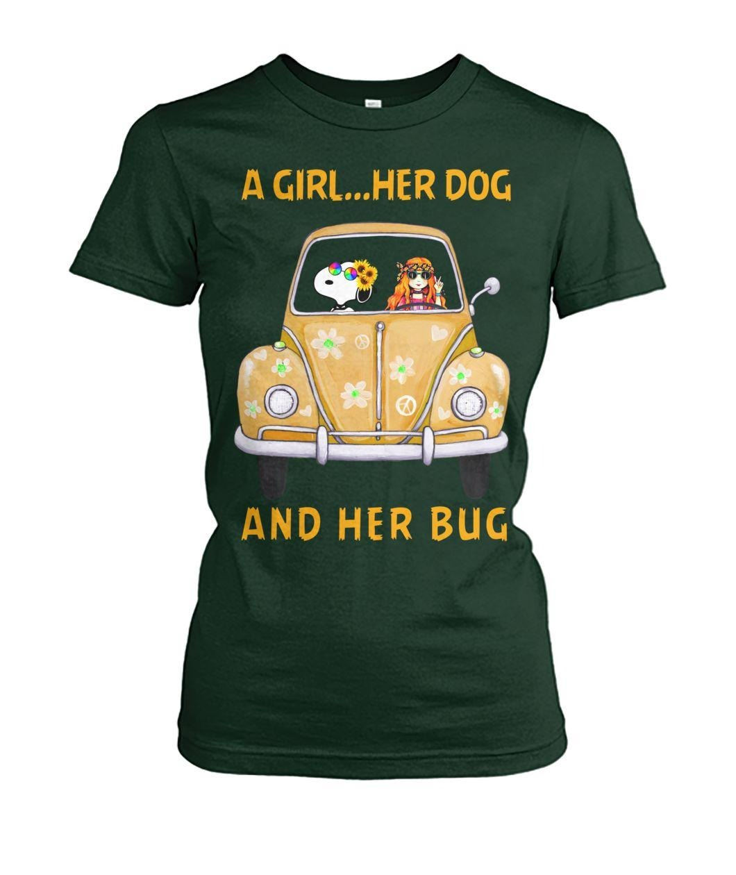 Snoopy a girl her dog and her bug Ladies Tee