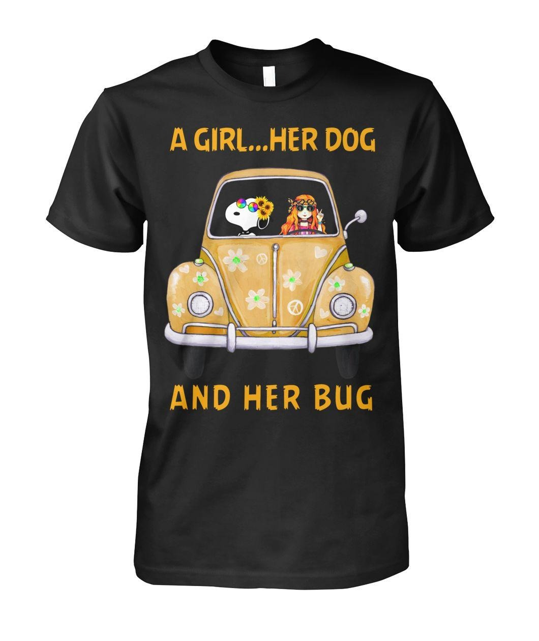 Snoopy a girl her dog and her bug shirt