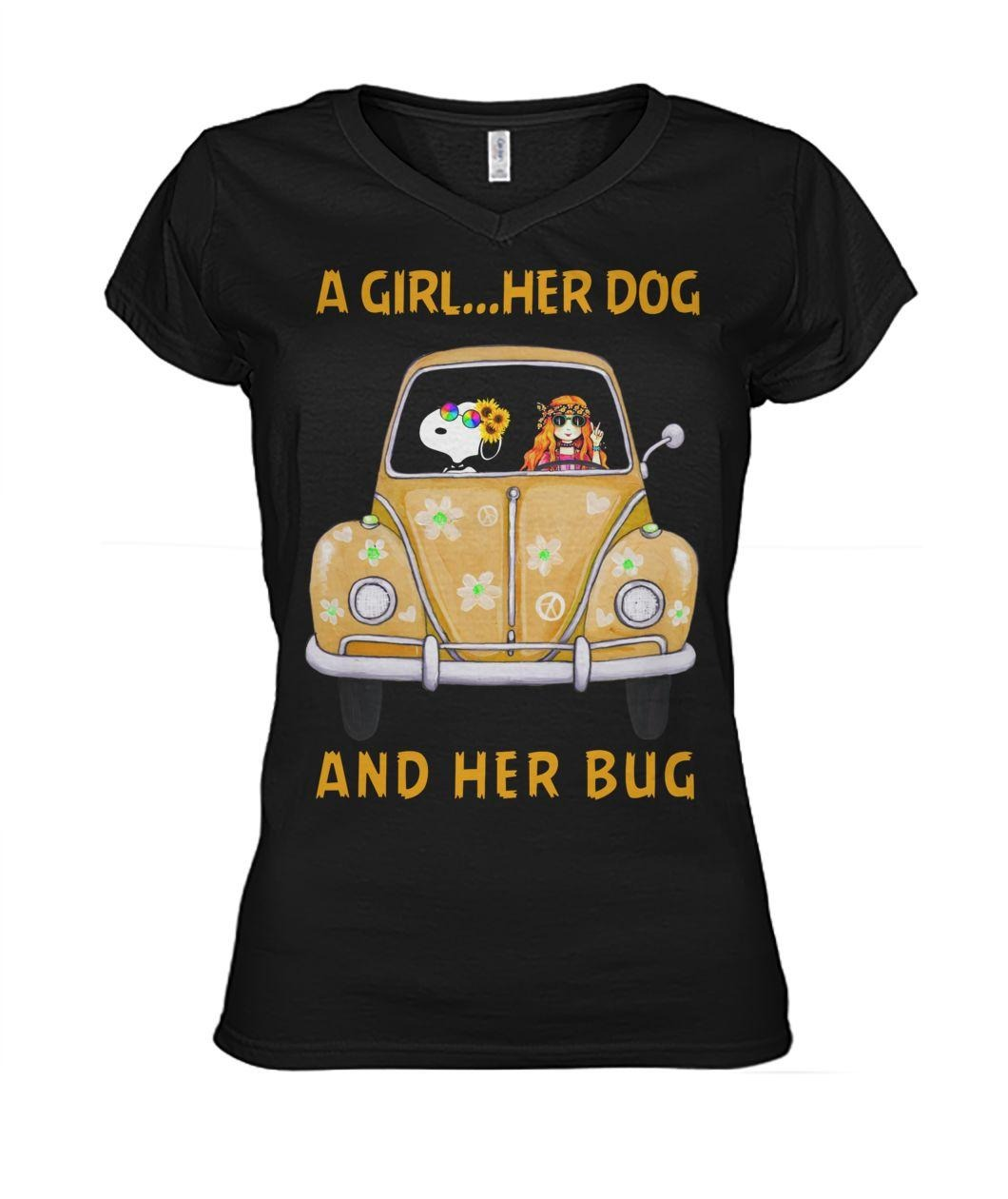 Snoopy a girl her dog and her bug V-neck T-shirt