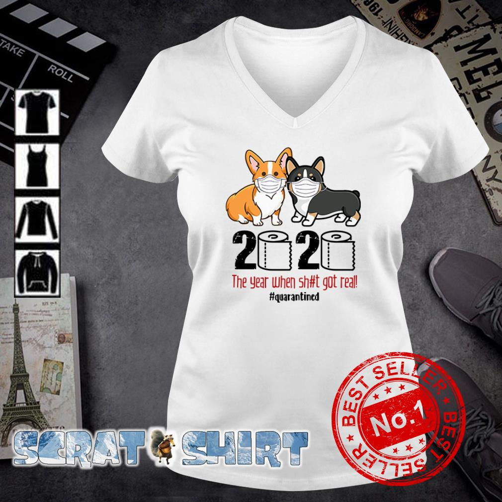 Corgis Quarantined 2020 v-neck t-shirt