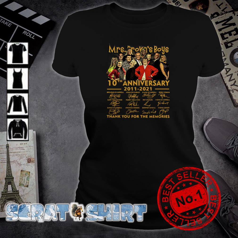 Mrs. Brown's Boys 10th anniversary 2011 2021 thank you for the memories signatures ladies tee