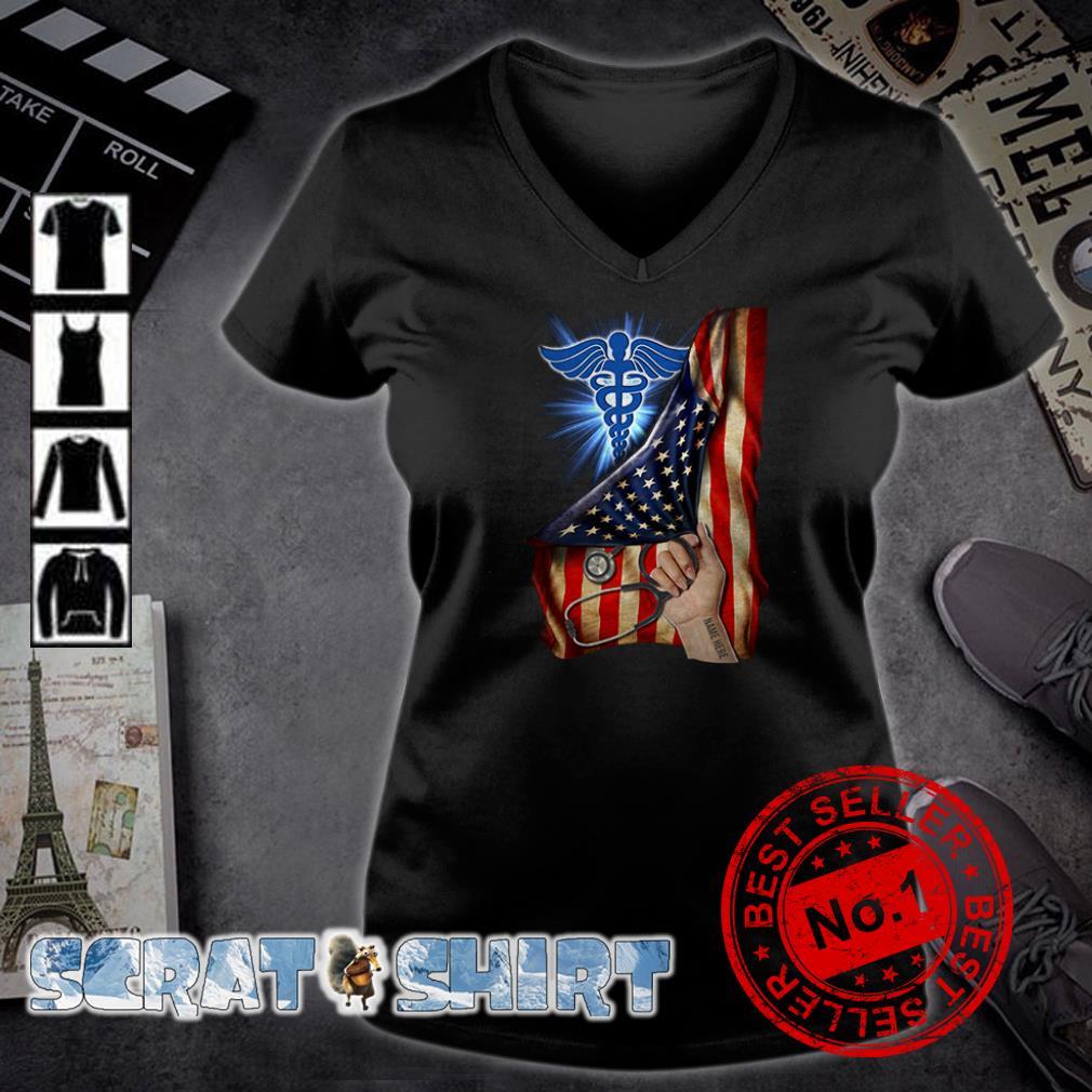 Nurse America Flag inside me v-neck t-shirt