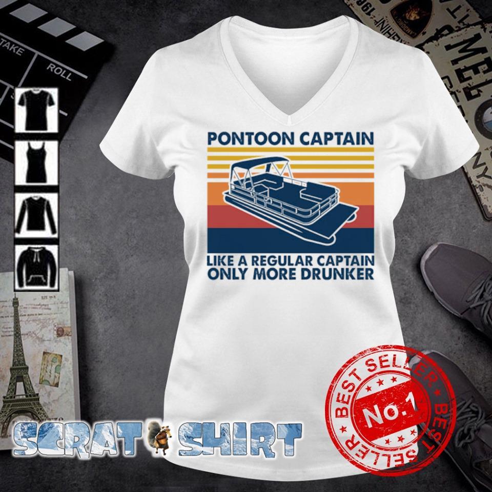 Pontoon Captain like a regular captain only more drunker vintage s v-neck t-shirt