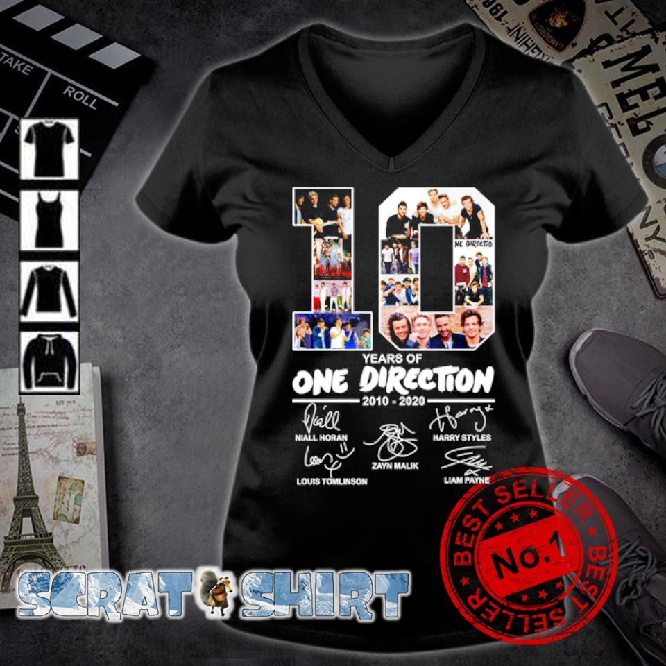 10 years of One Direction 2010 2020 signature s v-neck t-shirt