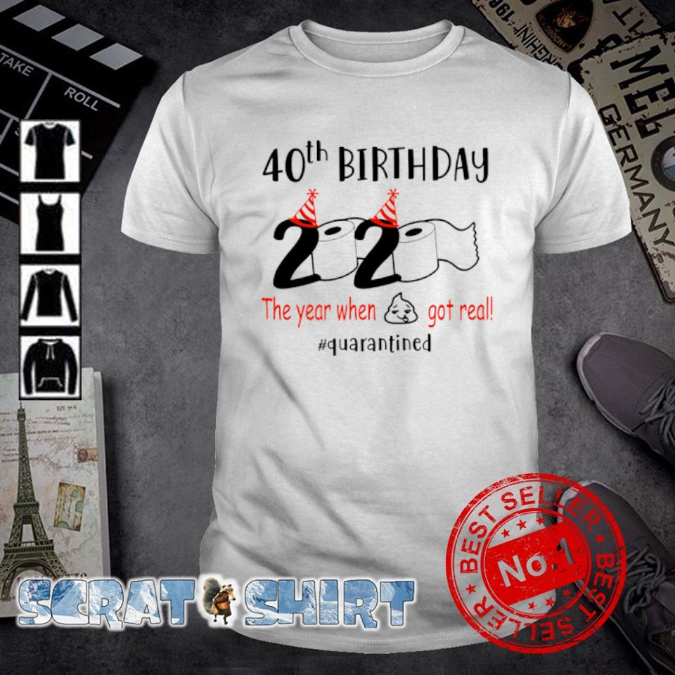 40th birthday 2020 the year when shit got real shirt