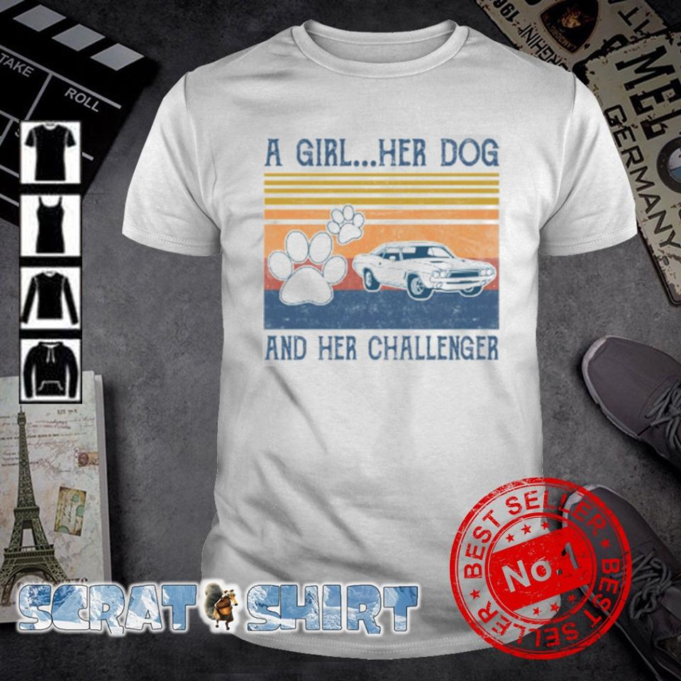 A girl her dog and her Challenger vintage shirt