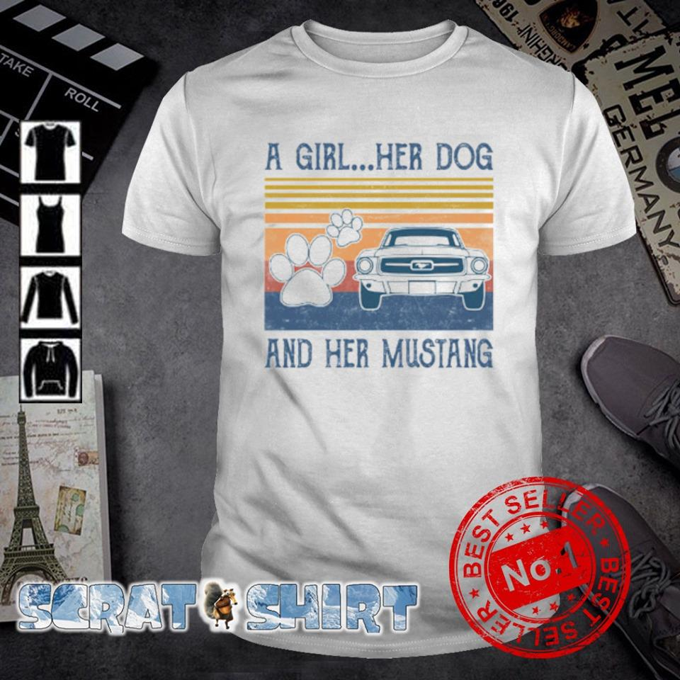 A girl her dog and her Mustang vintage shirt