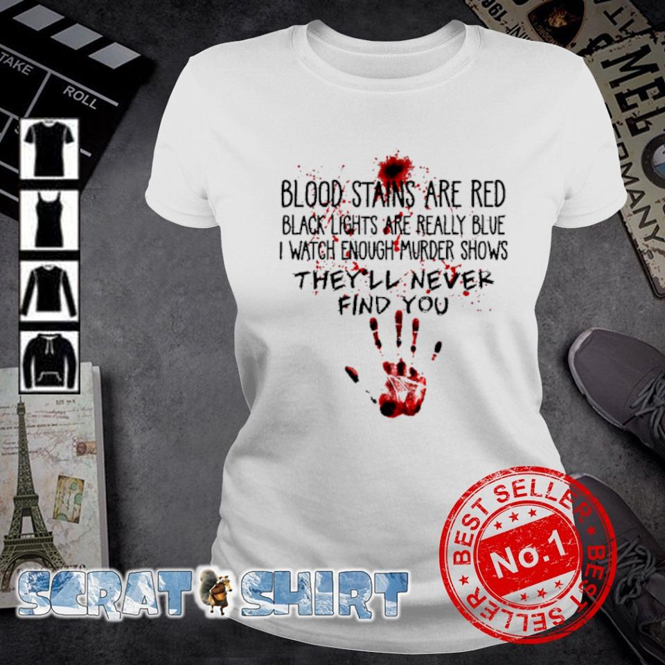 Blood stains are red black lights are really blue s ladies-tee