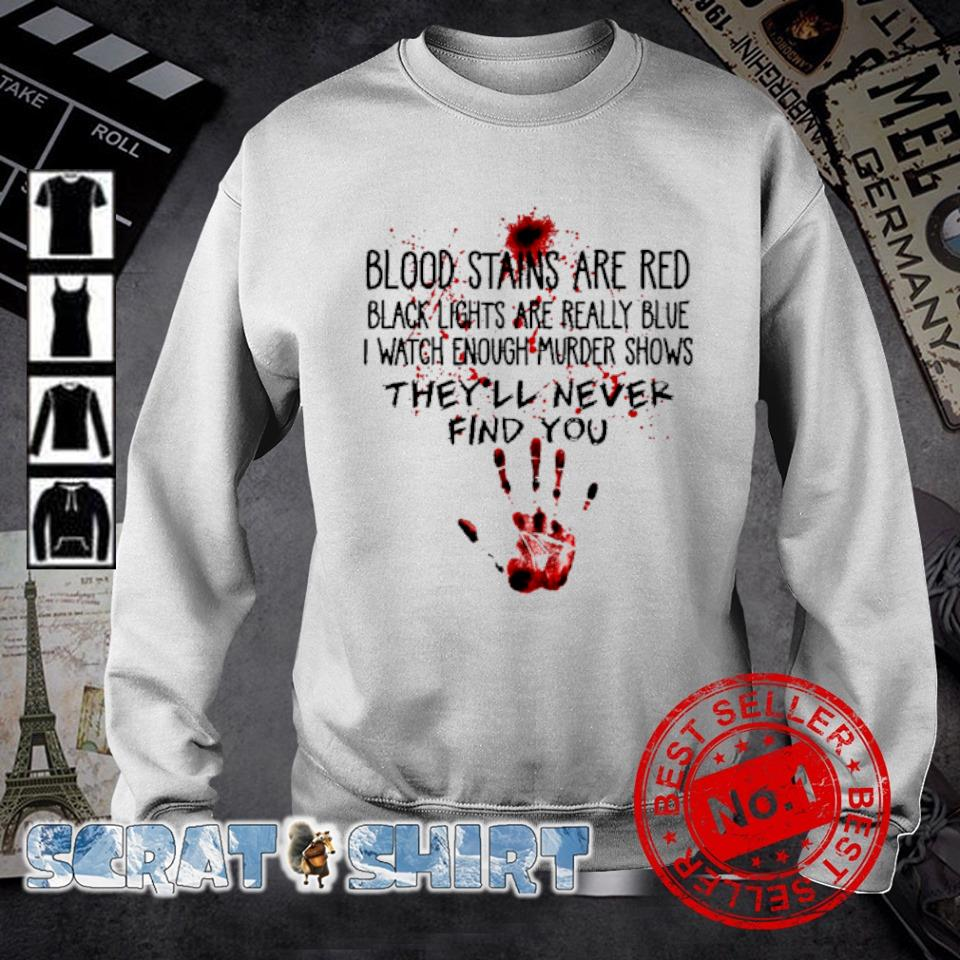 Blood stains are red black lights are really blue s sweater