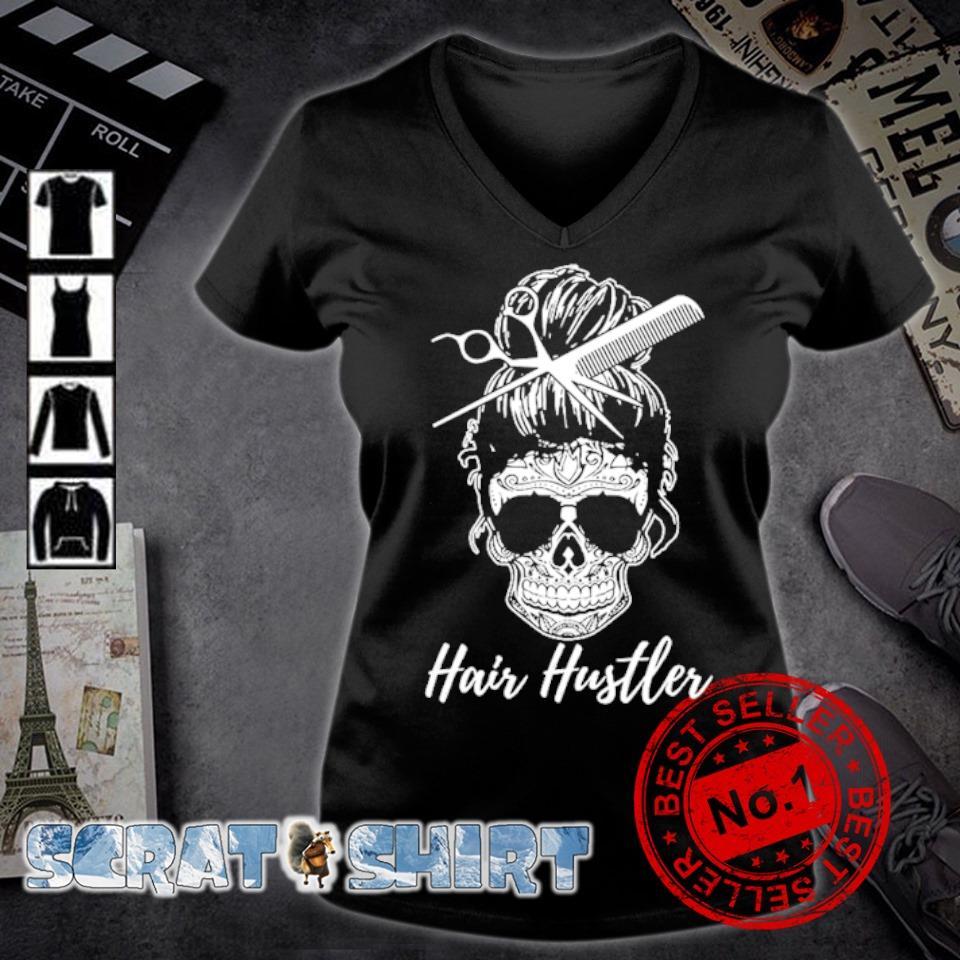 Hair Hustler Skull s v-neck t-shirt