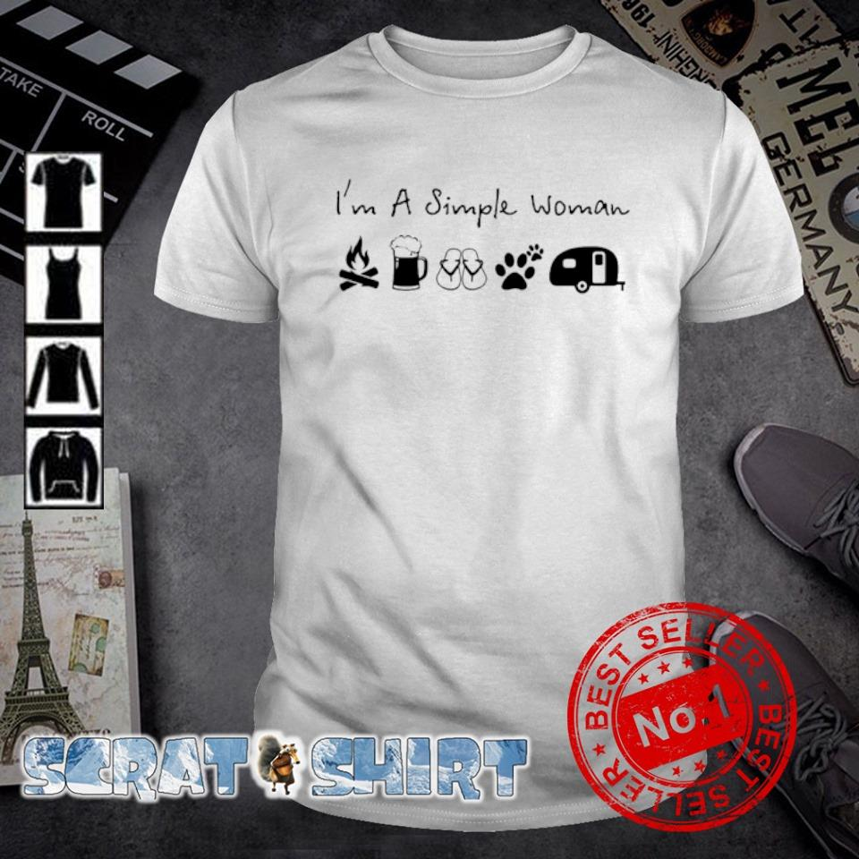 I'm a simple woman I like Campfire Beer Flip flop Dog and Camper shirt