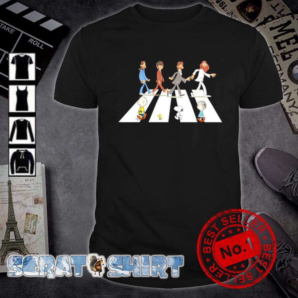 Peanuts and The Beatles abbey road shirt