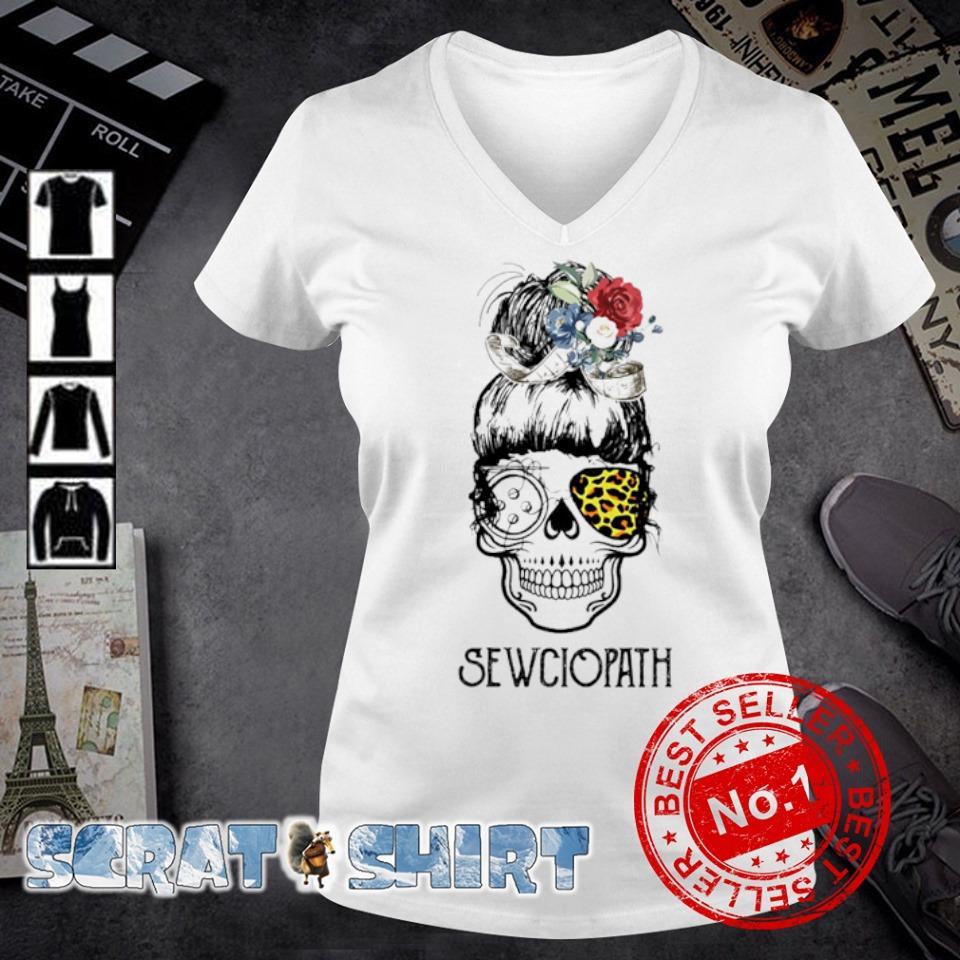 Skull girl leopard Sewing Sewciopath s v-neck t-shirt