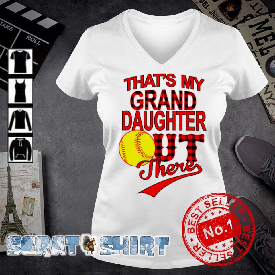 Softball That's my grand daughter out there s v-neck t-shirt