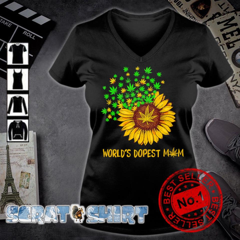 Sunflower weed world's dopest Mom s v-neck t-shirt