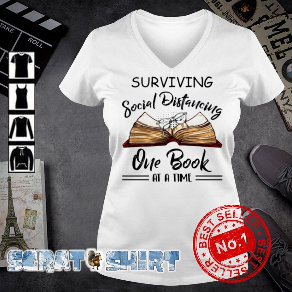 Surviving social distancing one book at a time s v-neck t-shirt