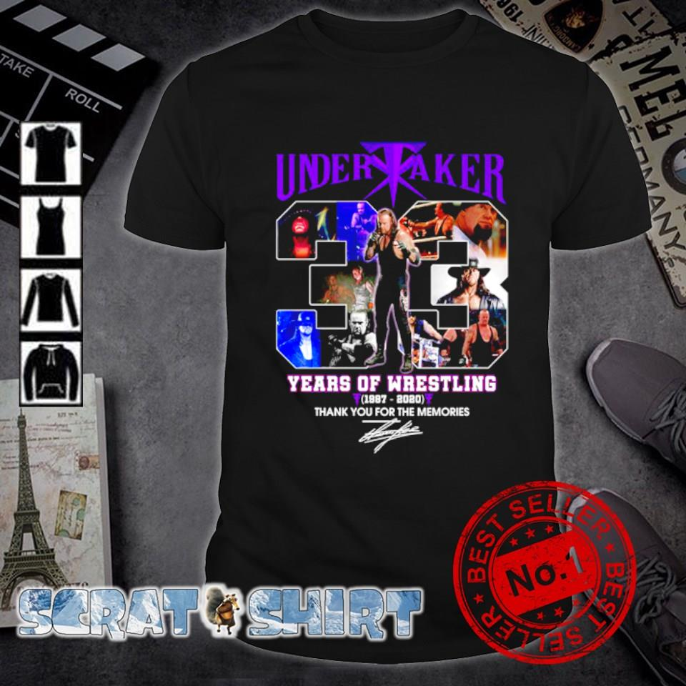 Undertaker 33 years of Wrestling 1987 2020 thank you for the memories shirt