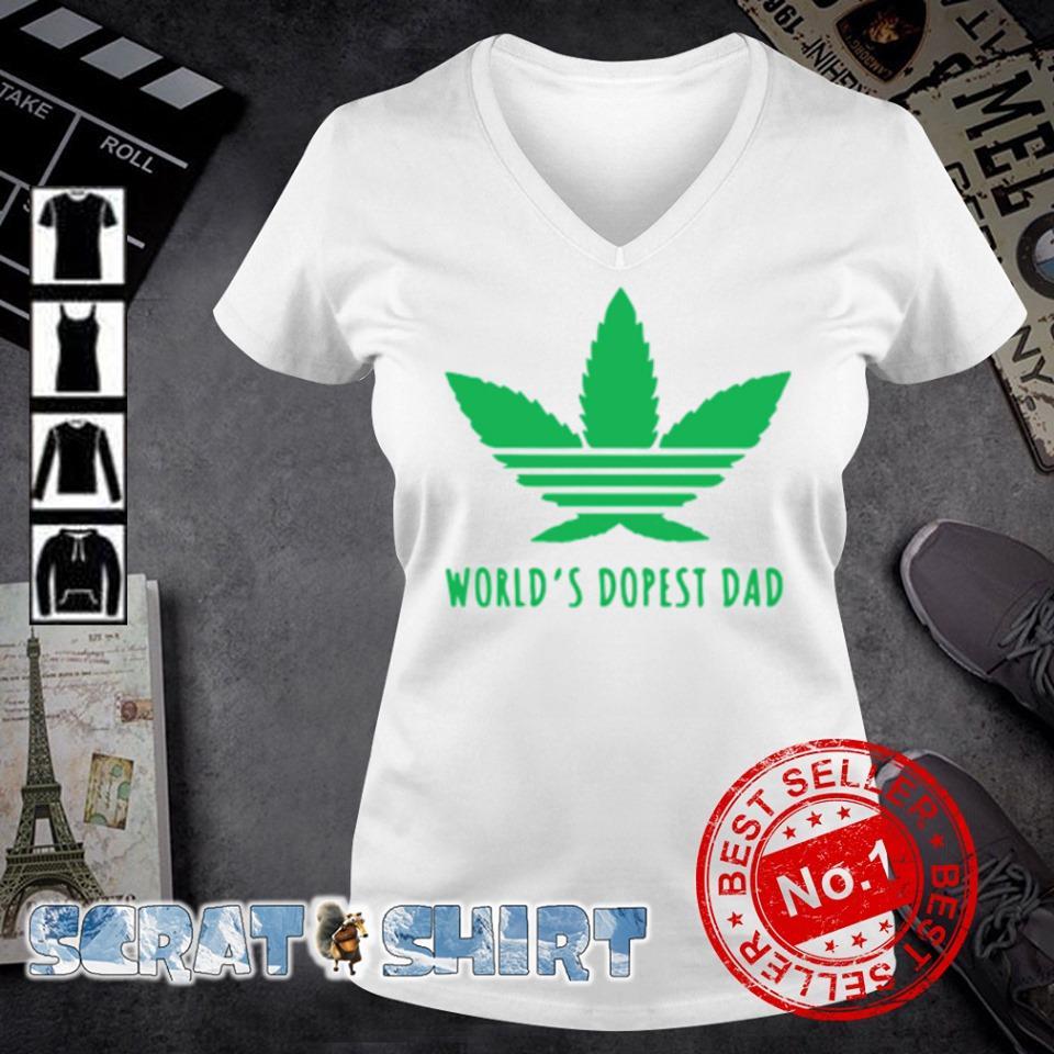 Weed world's dopest dad s v-neck t-shirt