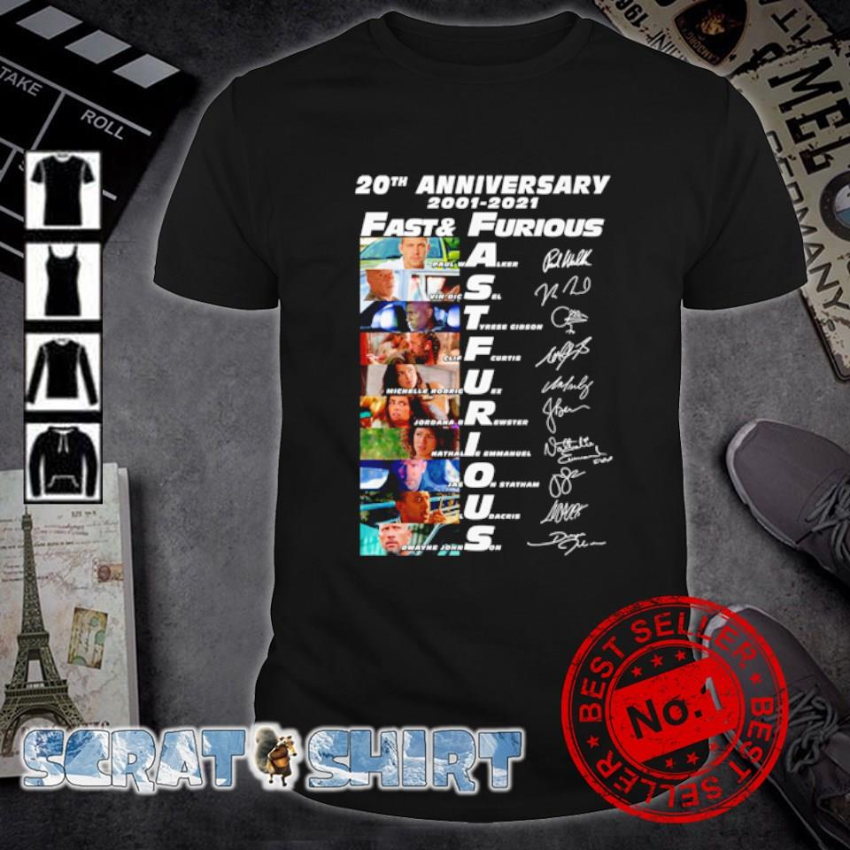 20th Anniversary 2001 2021 Fast and Furious signatures shirt