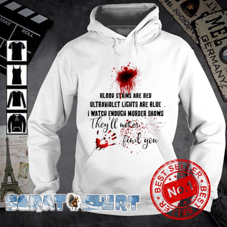 Blood stains are red ultraviolet lights are blue I watch enough murder shows s hoodie