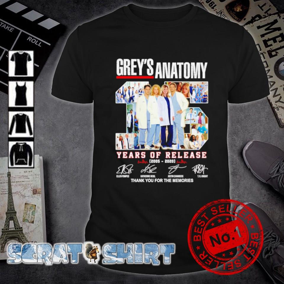 Grey's Anatomy years of release 2005 2020 thank you for the memories shirt