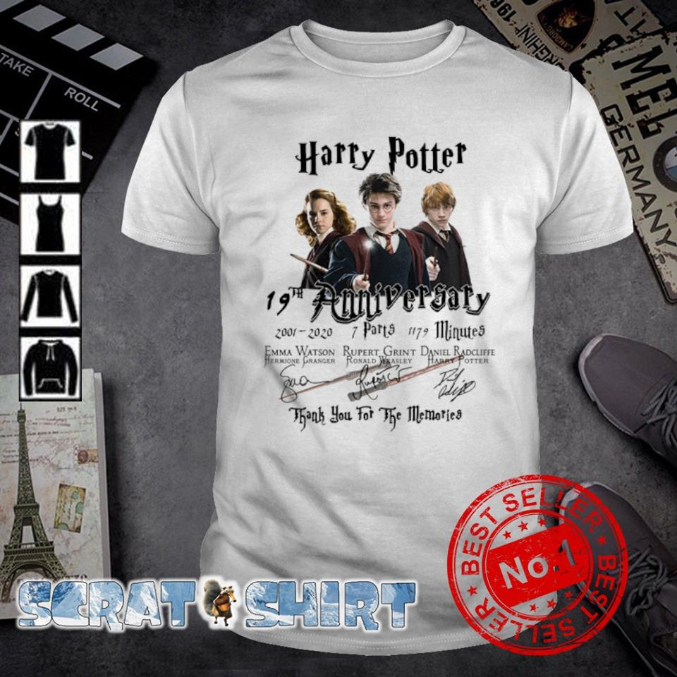Harry Potter 19th Anniversary 2001 2020 thank you for the memories shirt
