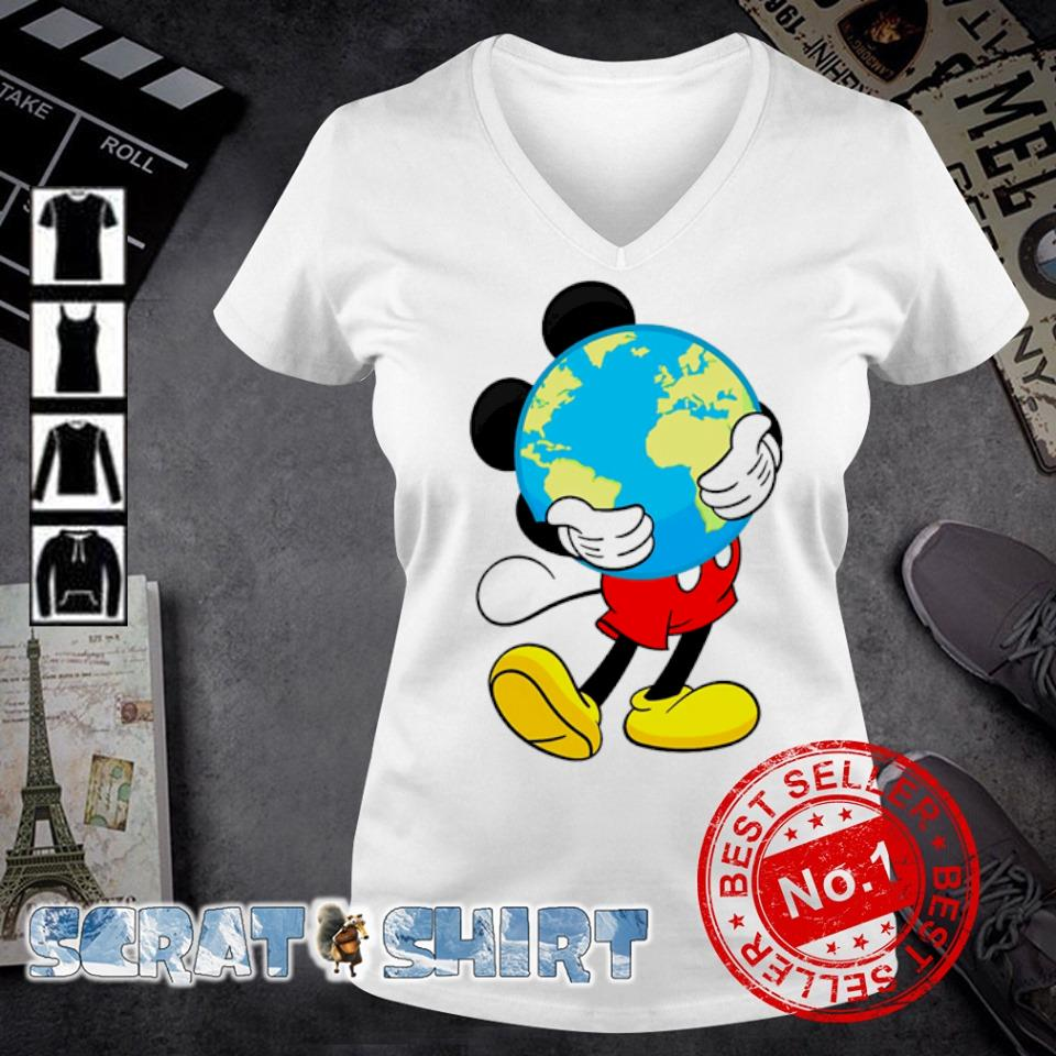 Mickey mouse hug earth s v-neck t-shirt