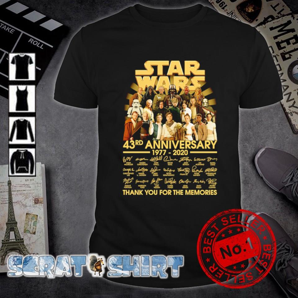 Star Wars 43rd Anniversary 1977 2020 thank you for the memories shirt