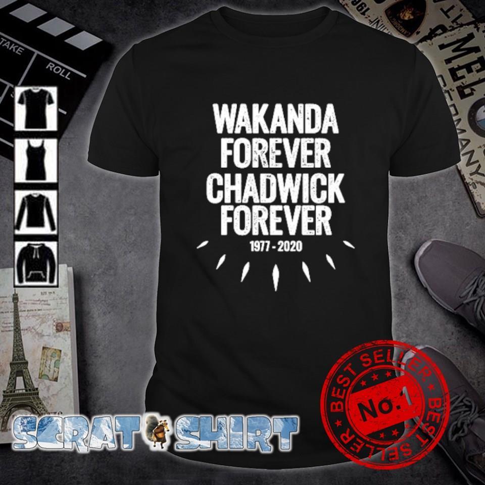 Wakanda forever Chadwick forever 1977 2020 shirt