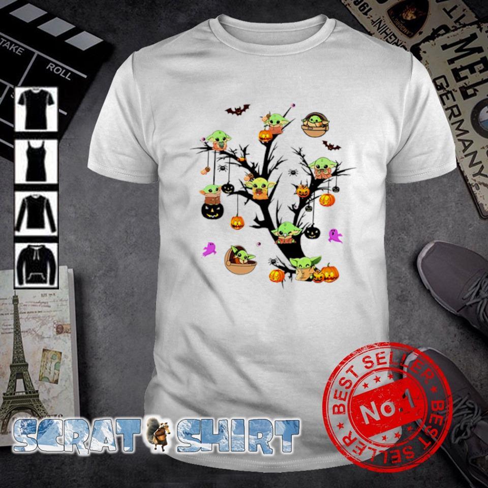 Baby Yoda on Halloween tree shirt