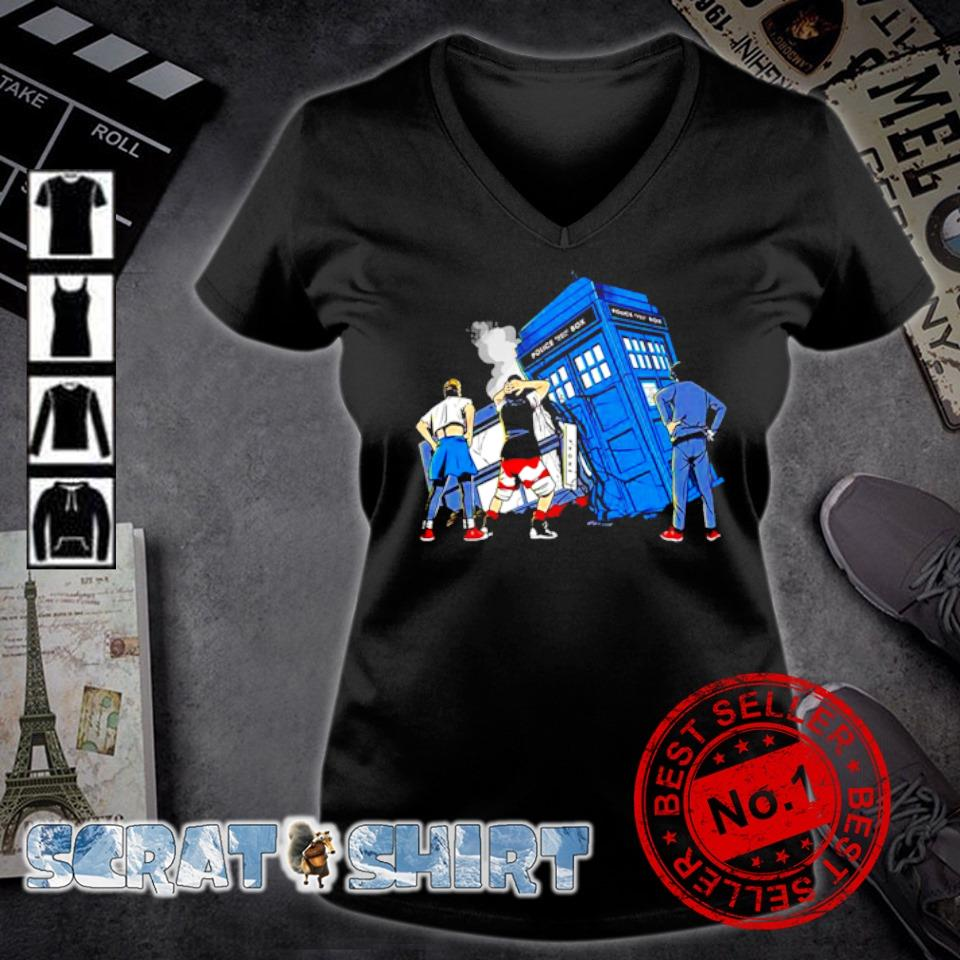 Bill and Ted Doctor Who colliding in time s v-neck t-shirt