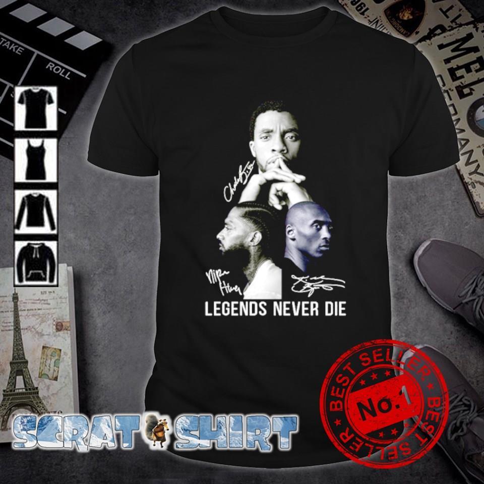 Chadwick Boseman and Nipsey Hussle and Kobe Bryant signature legend never die shirt