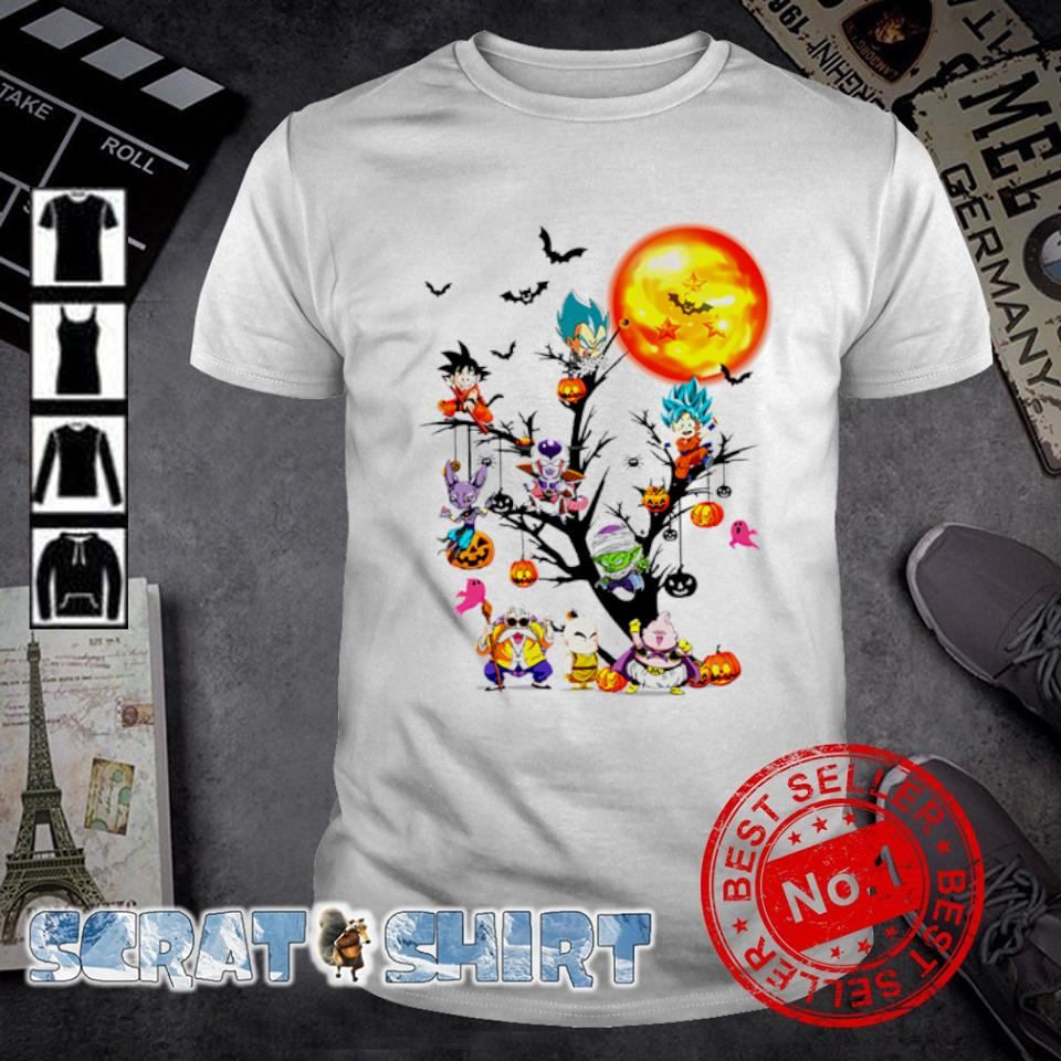 Dragon Ball Z characters chibi on Halloween tree shirt