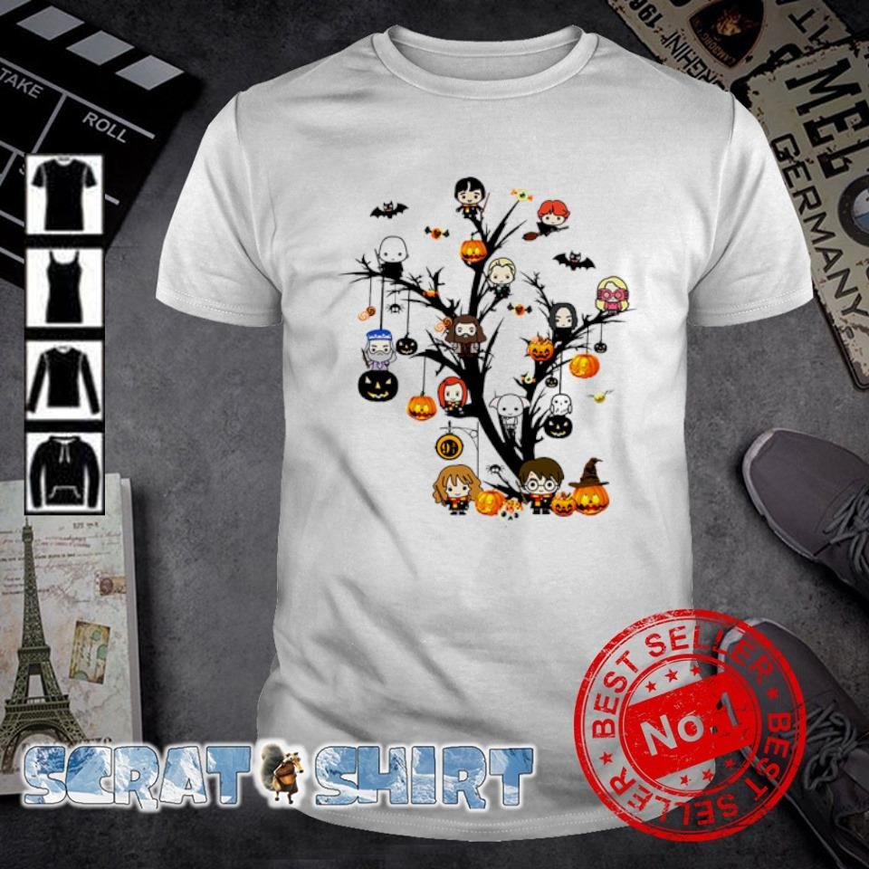 Harry Potter characters chibi on Halloween tree shirt
