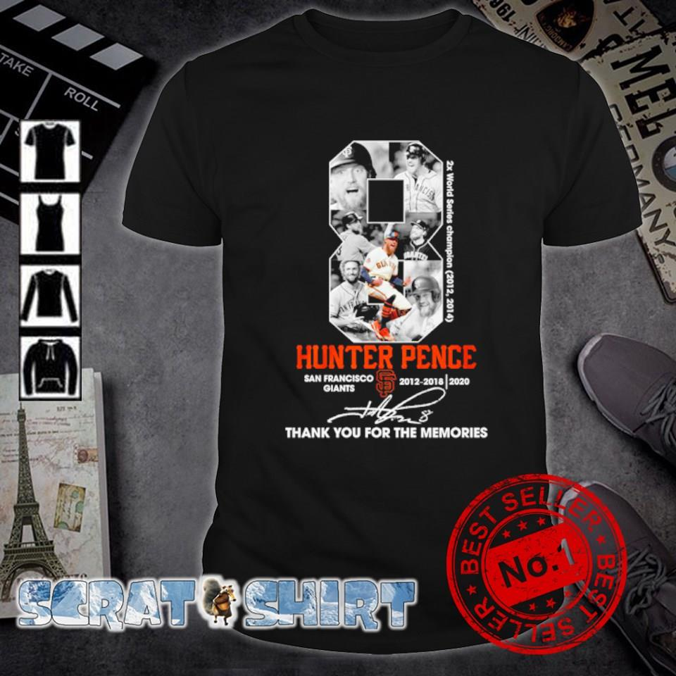Hunter Pence San Francisco thank you for the memories signature shirt