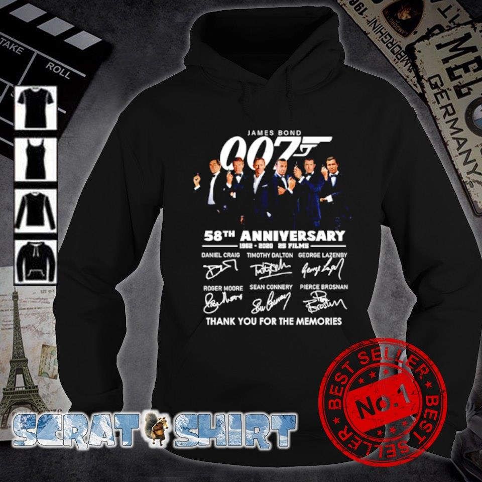 James Bond 007 58th Anniversary 1962 2020 thank you for the memories signature s hoodie