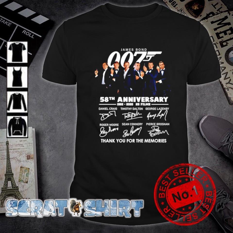 James Bond 007 58th Anniversary 1962 2020 thank you for the memories signature shirt