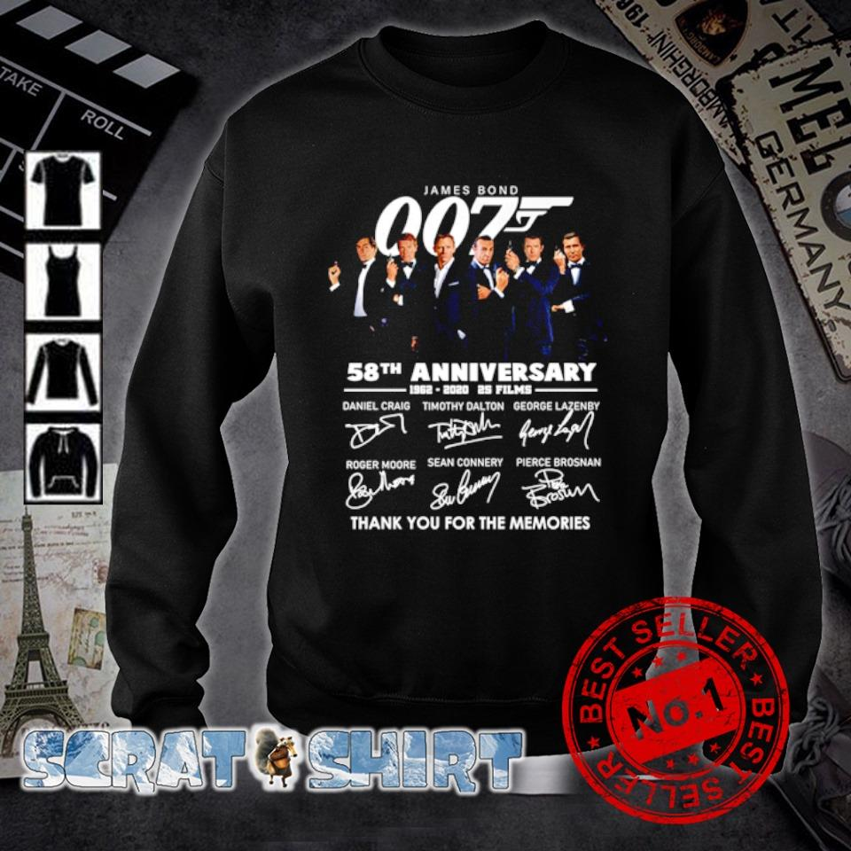 James Bond 007 58th Anniversary 1962 2020 thank you for the memories signature s sweater