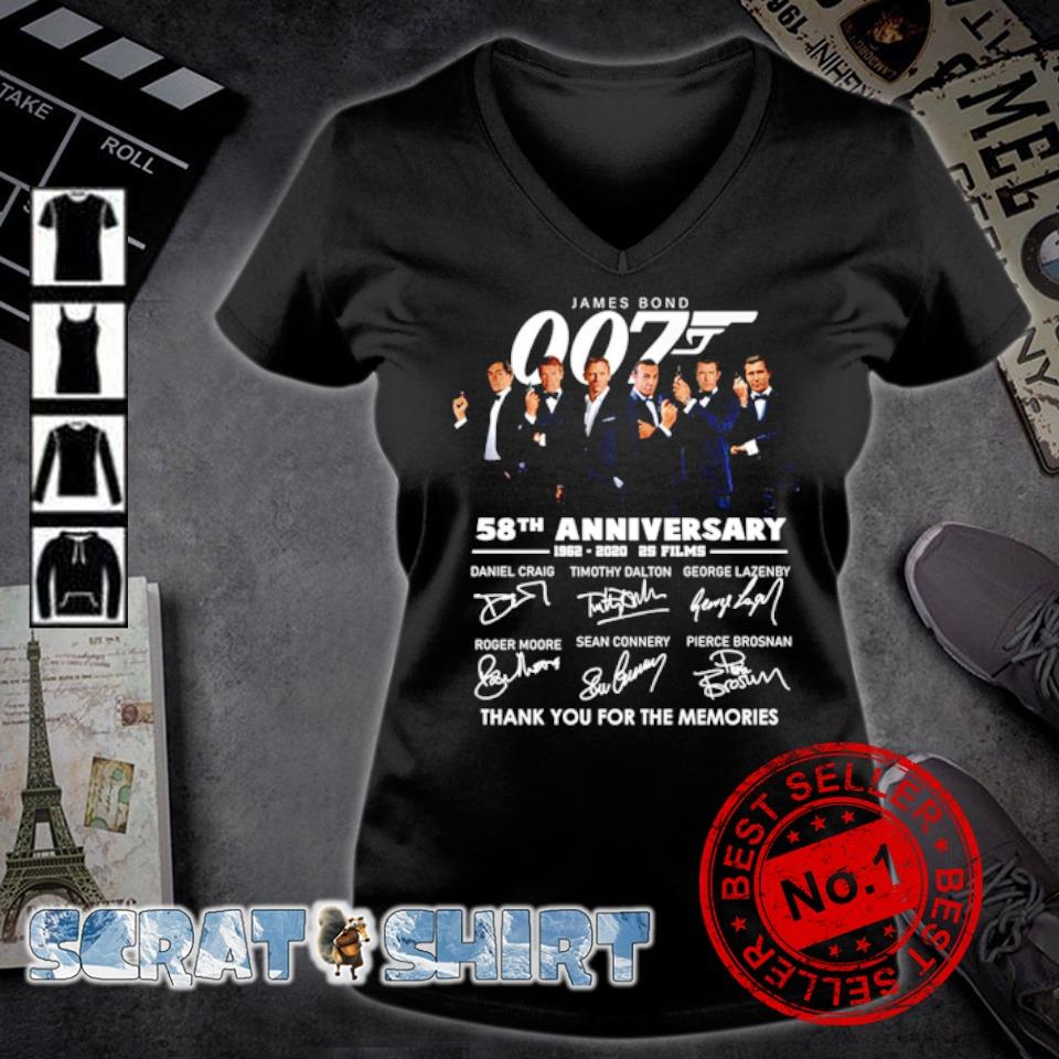 James Bond 007 58th Anniversary 1962 2020 thank you for the memories signature s v-neck t-shirt