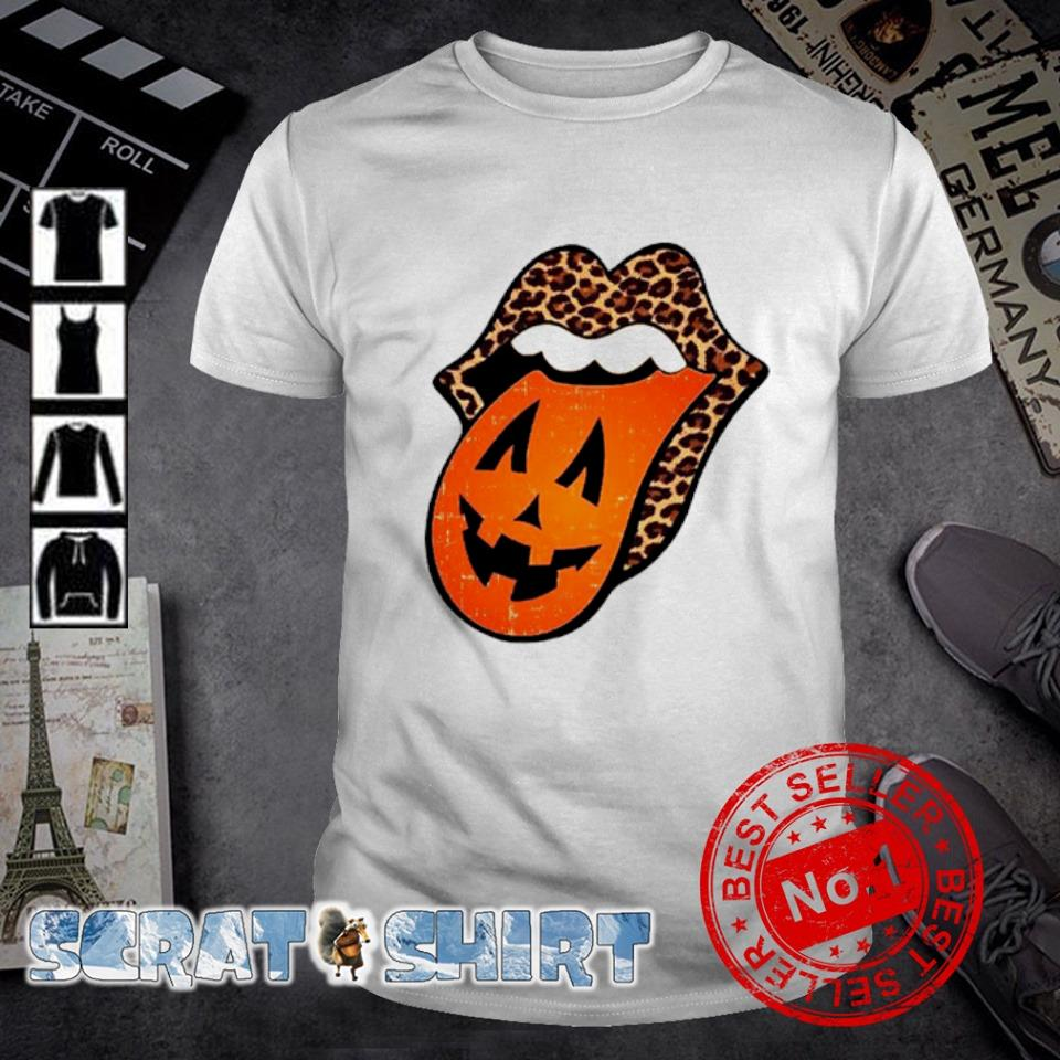 Leopard lips pumpkin tongue Halloween shirt