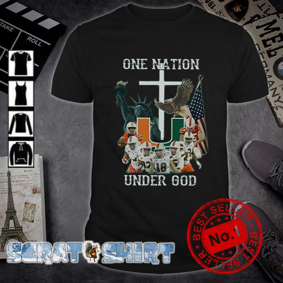 Miami Hurricanes one nation under God American flag shirt