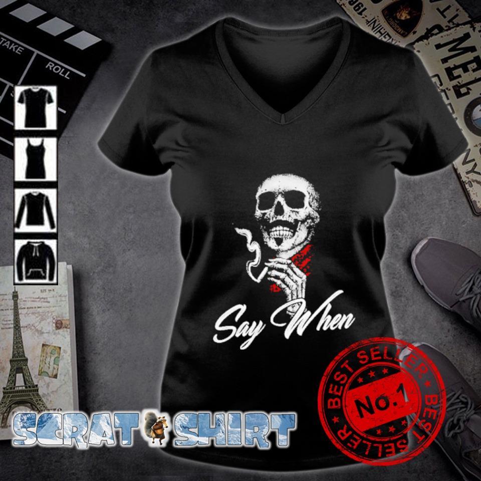 Skull Marines Say when s v-neck t-shirt