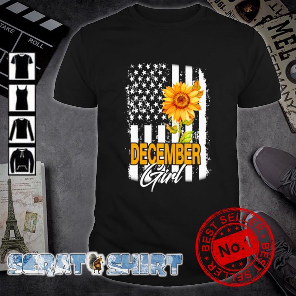 American flag sunflower December girl shirt