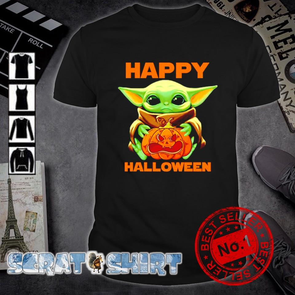 Baby Yoda hug scary pumpkin happy Halloween shirt