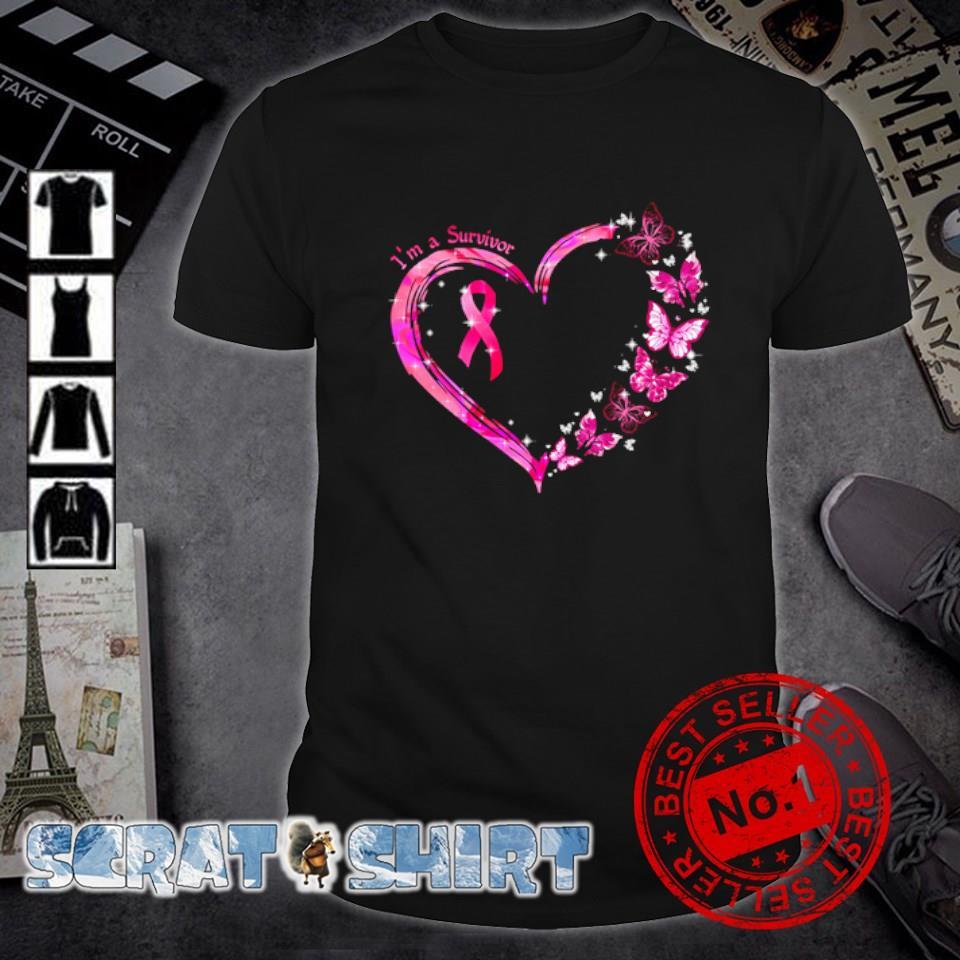 Breast Cancer butterfly I'm a survivor shirt