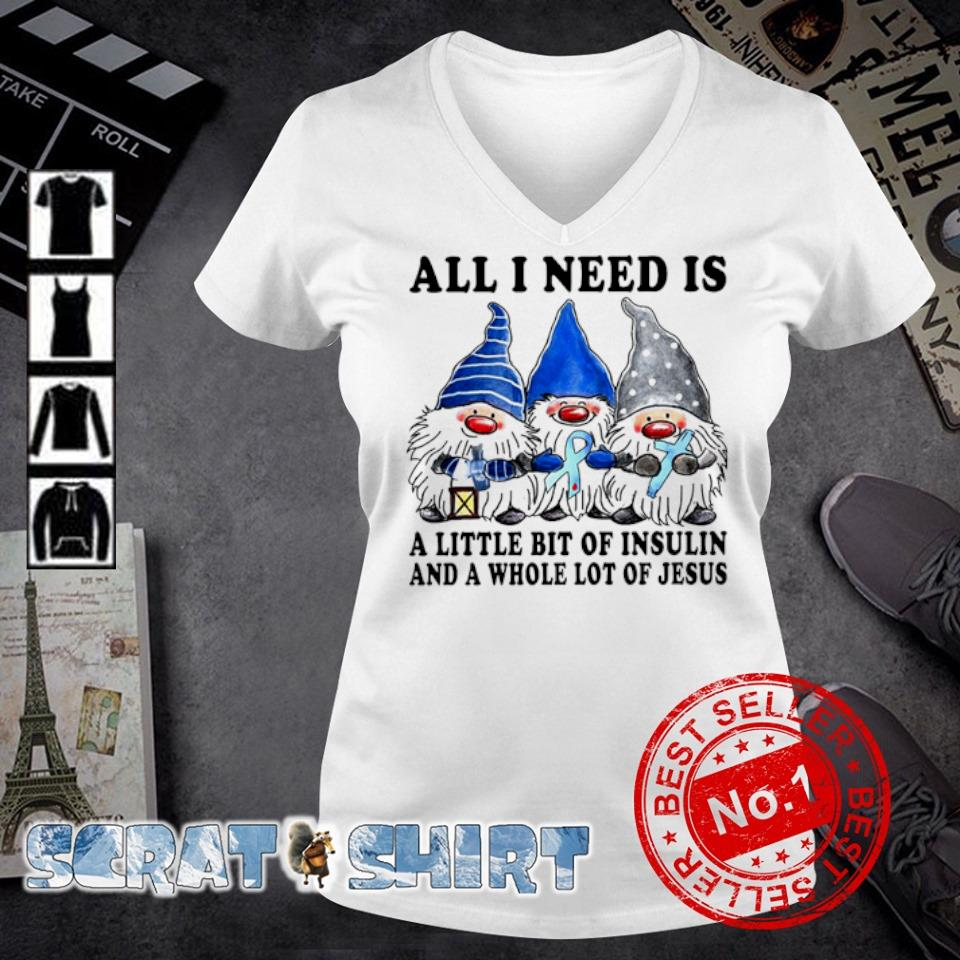 Gnomes all I need is a little bit of insulin s v-neck t-shirt
